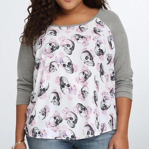 Torrid Skull Raglan Tee Floral T Shirt Plus Size 2
